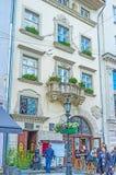 Der Balkon mit Löwen Stockfoto