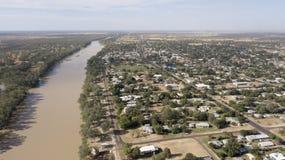 Der Balonne-Fluss und die Stadt von St George stockfoto
