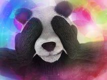 Der Bambusjunkie des kranken Charakterpandas, der starke Halluzinationen und Furcht erfährt, schließt die Mündungstatzen Psychede Lizenzfreie Stockbilder