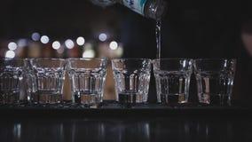 Der Barmixer gießt Wodka in Gläser Lizenzfreies Stockbild