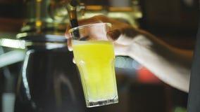 Der Barmixer gießt Zitronenbier stock video