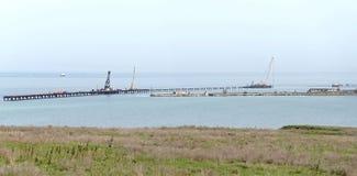 Der Bau der Brücke Kerch Stockbild