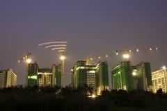Bau der Gebäude im Kapital stockbild