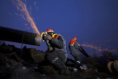 Der Bau der Rohrleitung Lizenzfreies Stockbild