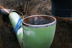 Der Bau der Rohrleitung stockfotografie