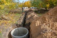 Der Bau des Abwasserkanals zum Haus lizenzfreie stockbilder