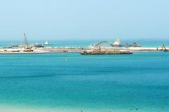 Der Bau des 210 Meter Dubai-Auges Stockfoto