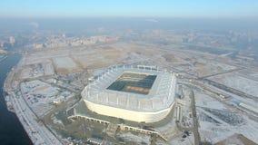 Der Bau des neuen Stadions für den Fußball-Weltcup 2018 stock video footage