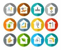 Der Bau von Gebäuden, Reparatur von Gebäuden, Ikonen, gefärbt Stockfotografie