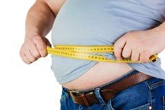 Der Bauch eines dicken Mannes lokalisiert auf weißem Hintergrund Hol des dicken Mannes Lizenzfreie Stockfotos