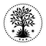Der Baum des Lebens mit dem aufgehende Sonne in einem Kreis von Sternen Die Schlangejagd im Labyrinth vektor abbildung