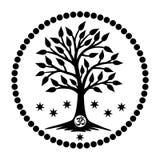Der Baum des Lebens mit dem Aum/OM/Ohm unterzeichnen herein die Mitte der Mandala Vektor lizenzfreie abbildung