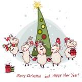 Der Baum des neuen Jahres mit Ziege Stockbilder