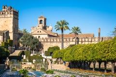Der berühmte Alcazar mit schönem Garten in Cordoba, Spanien Lizenzfreies Stockbild