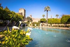 Der berühmte Alcazar mit schönem Garten in Cordoba, Spanien Lizenzfreie Stockfotografie