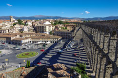 Der berühmte alte Aquädukt in Segovia, Kastilien y Leon Stockfotografie