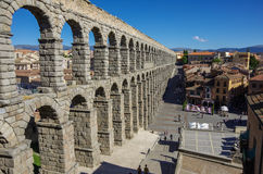 Der berühmte alte Aquädukt in Segovia, Kastilien y Leon Lizenzfreie Stockfotos