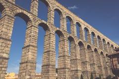 Der berühmte alte Aquädukt in Segovia, Kastilien y Leon, Spanien Lizenzfreie Stockfotos