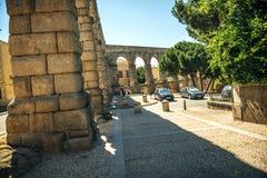 Der berühmte alte Aquädukt in Segovia, Spanien Stockbild