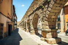 Der berühmte alte Aquädukt in Segovia, Spanien Stockfotografie