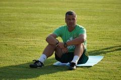 Der berühmte Fußballspieler in der Vergangenheit Spartak Moscow und das russische Team, Yuri Nikiforov, jetzt der Co-Trainer von  Lizenzfreies Stockbild