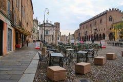 Der berühmte Renaissancequadrat Marktplatz Sordello in Mantua, Nord-Italien Lizenzfreie Stockfotos