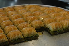 Der berühmteste türkische Nachtisch, Pistazienbaklava Stockbild