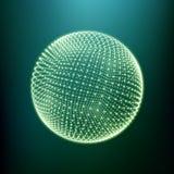 Der Bereich, der aus Punkten besteht Globale digitale Verbindungen Abstraktes Kugel-Gitter Wireframe-Bereich-Illustration Abstrak Stockfotografie
