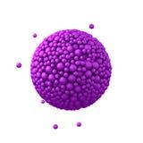 Der Bereich, der von den Plastikperlen, purpurrote Blasen gemacht wird, 3d übertragen, lokalisiert auf Weiß Stockfoto