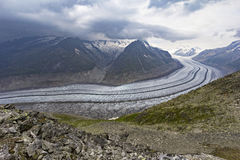 Der Bereich des Aletsch-Gletschers, die Schweiz Stockfoto