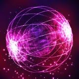 Der Bereich, welche Dreiecken und aus Linien besteht Globale Digital-Verbindung Abstraktes Kugel-Gitter Wireframe-Illustration 3D Lizenzfreie Stockfotografie