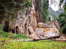 Der Berg wird durch Regenwasserabnutzung für entlang Zeit verwüstet E stockfotos