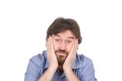 Der überraschte Mann mit einem Bart Lizenzfreie Stockbilder