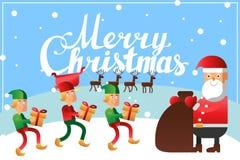 Der Beschriftungs-Kalligraphie der frohen Weihnachten Handhorizontale Postkarte Stockfoto