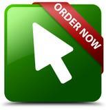 Der Bestellung Cursor-Ikonengrün-Quadratknopf jetzt Stockfotografie