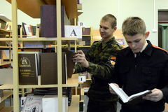In der Bibliothek des Kadettkorps der Polizei Stockfotografie