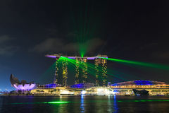 Der 6 3 biliion Dollar (US) Marina Bay Sands Hotel beherrscht Stockfoto