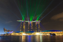 Der 6 3 biliion Dollar (US) Marina Bay Sands Hotel beherrscht Stockbild