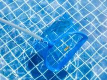 Der blaue Pflücker und die Blätter auf Pool tauchen für das Säubern und Hauptleitung auf Lizenzfreie Stockfotos