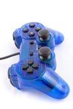 Der blaue Steuerknüppel für Prüferspielvideospiel Stockbild
