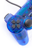 Der blaue Steuerknüppel für Prüferspielvideospiel Stockbilder