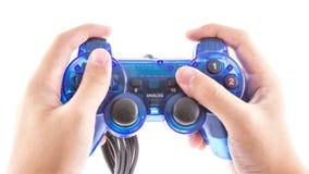 Der blaue Steuerknüppel für Prüferspielvideospiel stockfotografie
