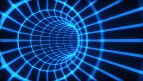 Der blaue Tunnel des Auszuges 3d von einem Rasterfeld stock abbildung