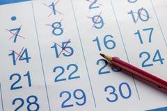 Der Bleistift liegt auf dem Kalender Lizenzfreie Stockbilder