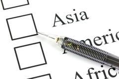 Der Bleistiftpunkt zum Checkbox in Asien-Text. Lizenzfreies Stockbild