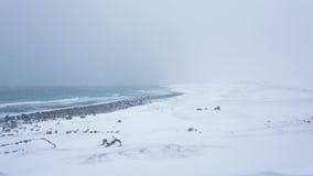 Der Blizzard über der Seeküste Lizenzfreies Stockfoto
