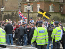 Der bnp-Protest in Londons Westminster am 1. Juni 2013 Stockbild
