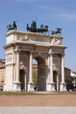 Der Bogen des Friedens in Mailand Lizenzfreies Stockbild