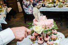 Der Bräutigam schneidet die rosa Hochzeitstorte stockbilder
