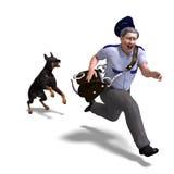 Der Briefträger läuft vom gefährlichen Hund. 3D Lizenzfreie Stockfotografie